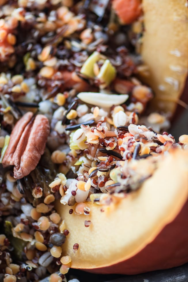 The Great Stuffed Pumpkin is a healthy and exciting vegan side dish! ~ theviewfromgreatisland.com