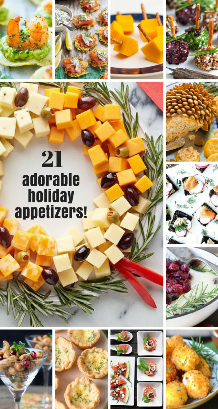 21 Easy and Adorable Holiday Appetizers for the holidays and beyond! #holidays #Thanksgivingappetizers #Christmasappetizers #newyearsappetizers #newyearseve #fingerfood #partyfood #cocktailparty #appetizerroundup