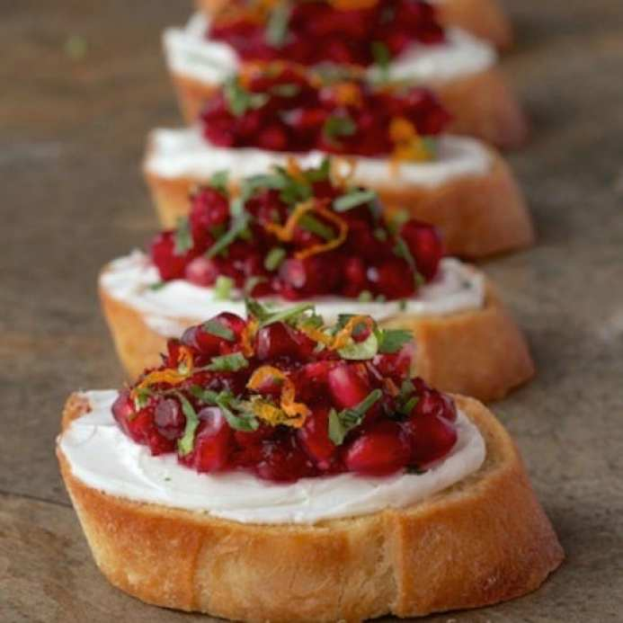 Cranberry and Pomegranate Bruschetta from The Cafe Sucre Farine