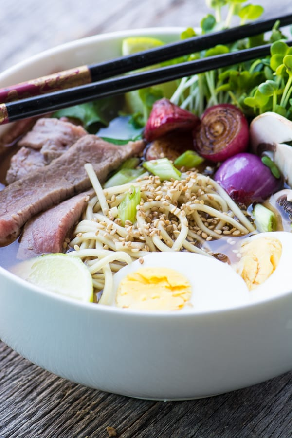 Slow Cooker Weeknight Pho is a quick and easy version of the famous Vietnamese street noodle bowls ~ healthy, gluten free, and delicious! ~ theviewfromgreatisland.com