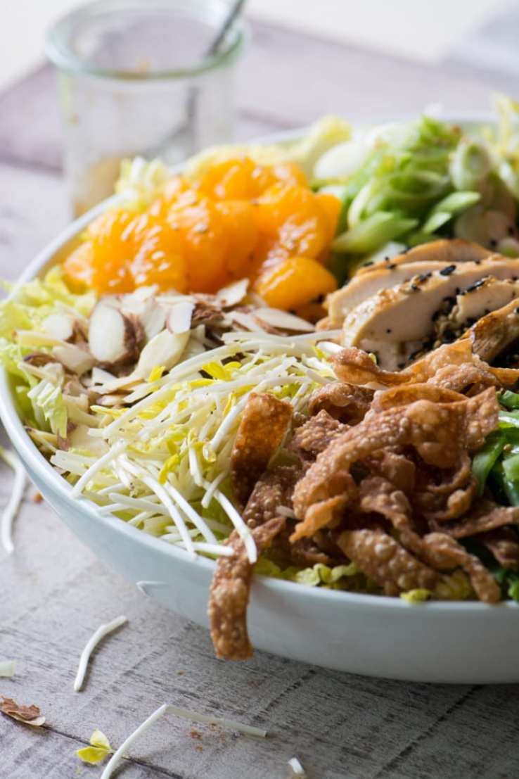 Chinese Chicken Salad is a low carb, gluten free, super healthy main course salad ~ and my homemade recipe beats the restaurant's any day! ~ theviewfromgreatisland.com