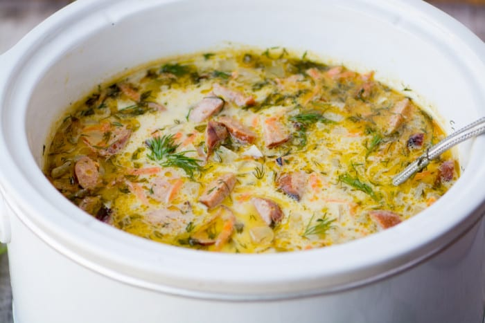 Dill Pickle and Brat Soup ~ a warm and comforting soup that you probably haven't had before! ~ theviewfromgreatisland.com