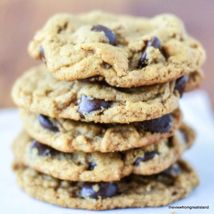 Flourless Almond Butter Chocolate Chip Cookies ~ delicioulsy healthier cookies loaded with protein! ~ theviewfromgreatisland.com