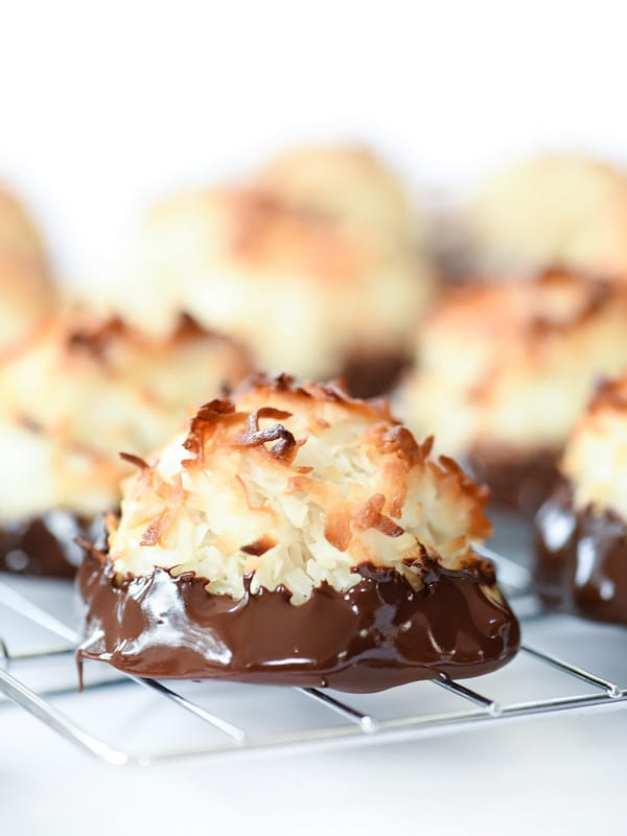 Chocolate Dipped Coconut Macaroons ~ 25 MORE Fabulous Flourless Cookies