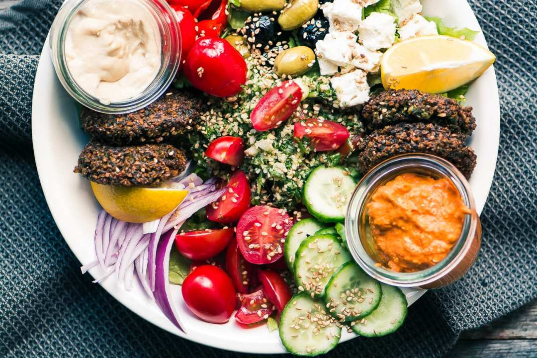 Hearty and healthy Falafel Salad Bowl is a protein rich Middle Eastern main course salad ~ theviewfromgreatisland.com