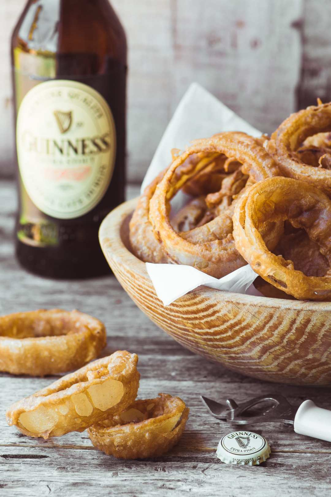 Guiness Battered Onion Rings with a spicy curried mayo ~ big thick rings drenched in a rich batter and fried to perfection ~