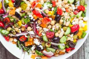My colorful and crunchy Mediterranean Bean Salad is the perfect side salad ~ it'll take you through picnic and barbecue season with ease, and you'll want to make up a big batch to keep in the fridge for quick and healthy lunches, too, it's packed with protein!