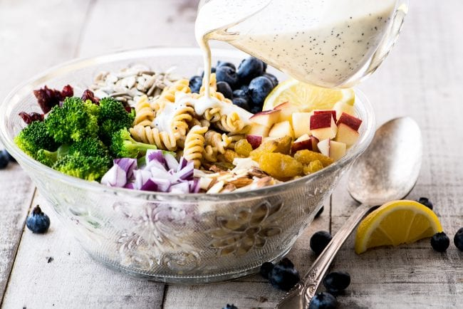 Broccoli and Blueberry Pasta Salad with Lemon Buttermilk Dressing
