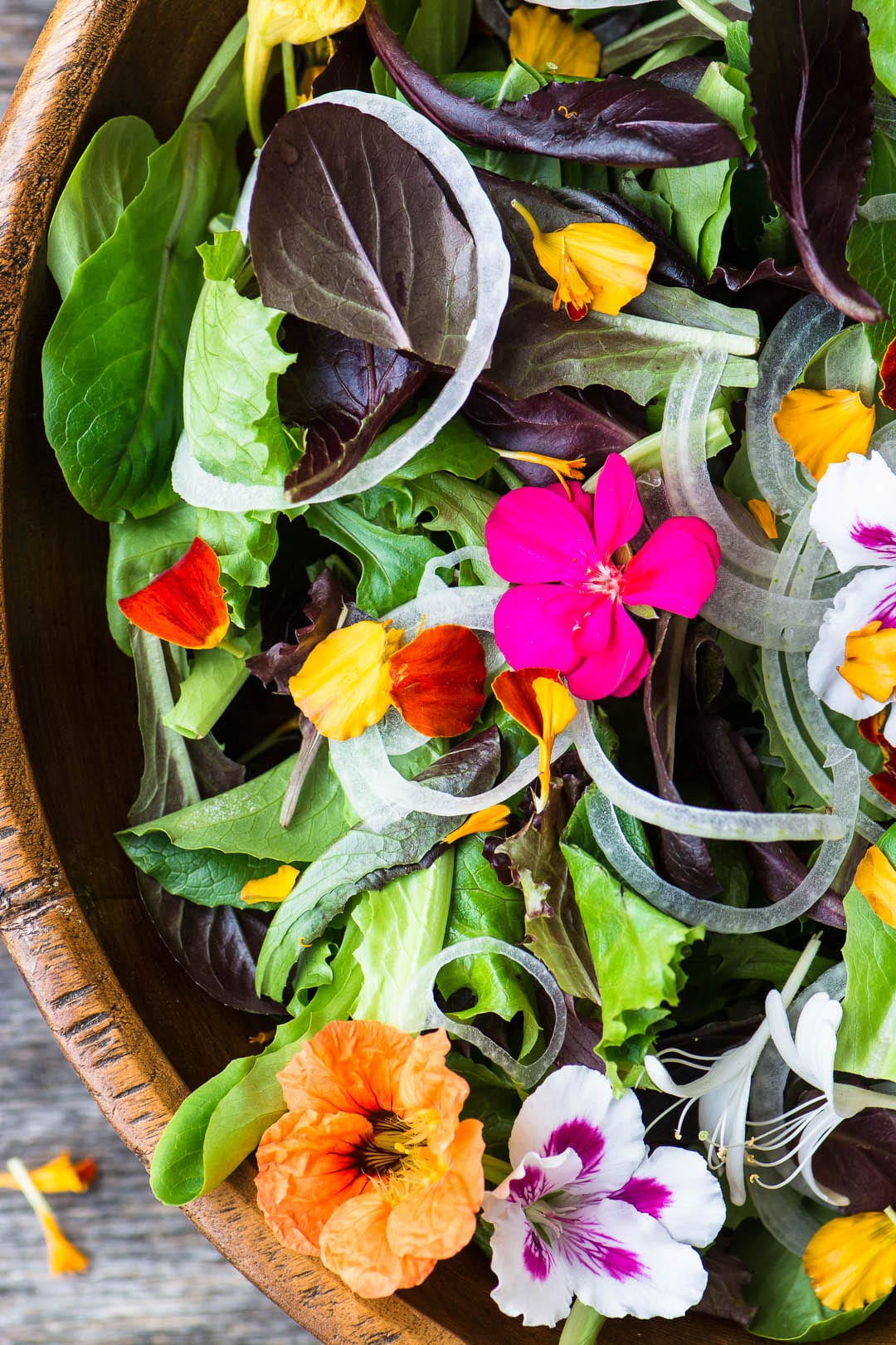 Spring Salad with Edible Flowers ~ perfect for any spring occasion like weddings, showers, Easter, or Passover.