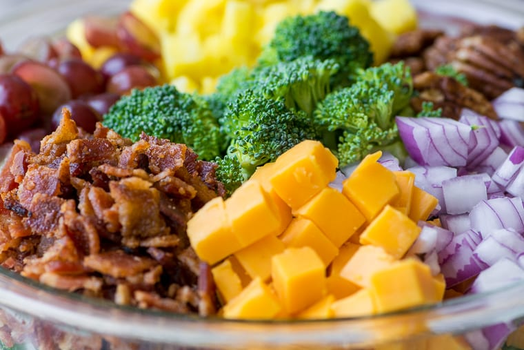 Broccoli Salad with Pineapple, Bacon and Spiced Pecans