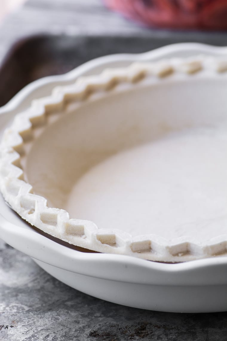 Frozen crust placed in your own pie plate for Straberry Crumble Pie