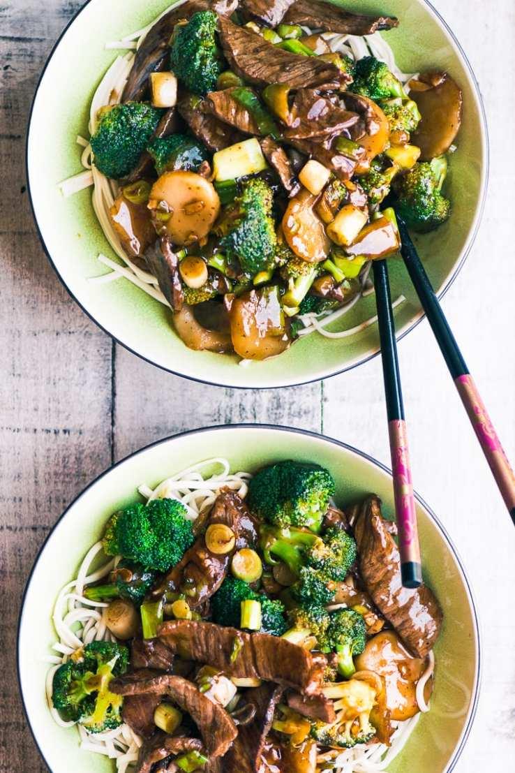 stir-fry Beef noodle bowls