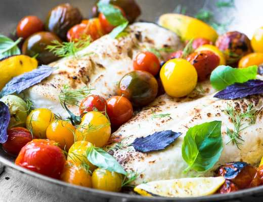 Easy Whitefish with Burst Tomatoes and Basil recipe