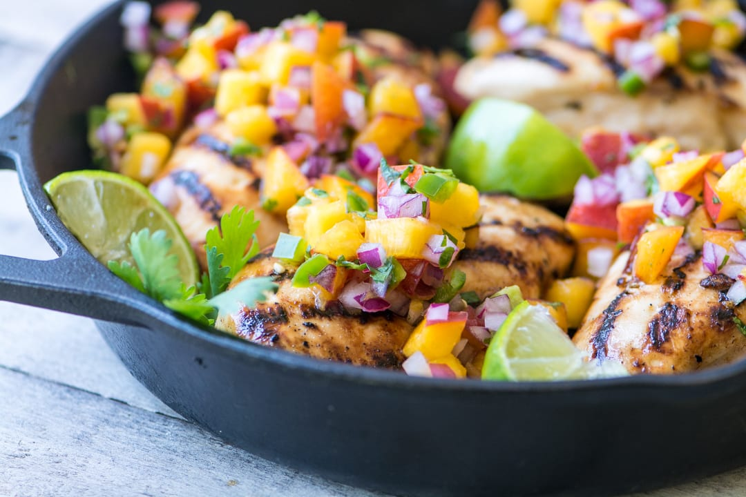 Grilled Chicken with Peach Jalapeno Salsa ~ this lightning quick meal is low calorie, low fat, low carb, gluten free, Whole 30 and Paleo compliant, and Weight Watchers friendly. Or, to put it another way, it's healthy and insanely delicious.
