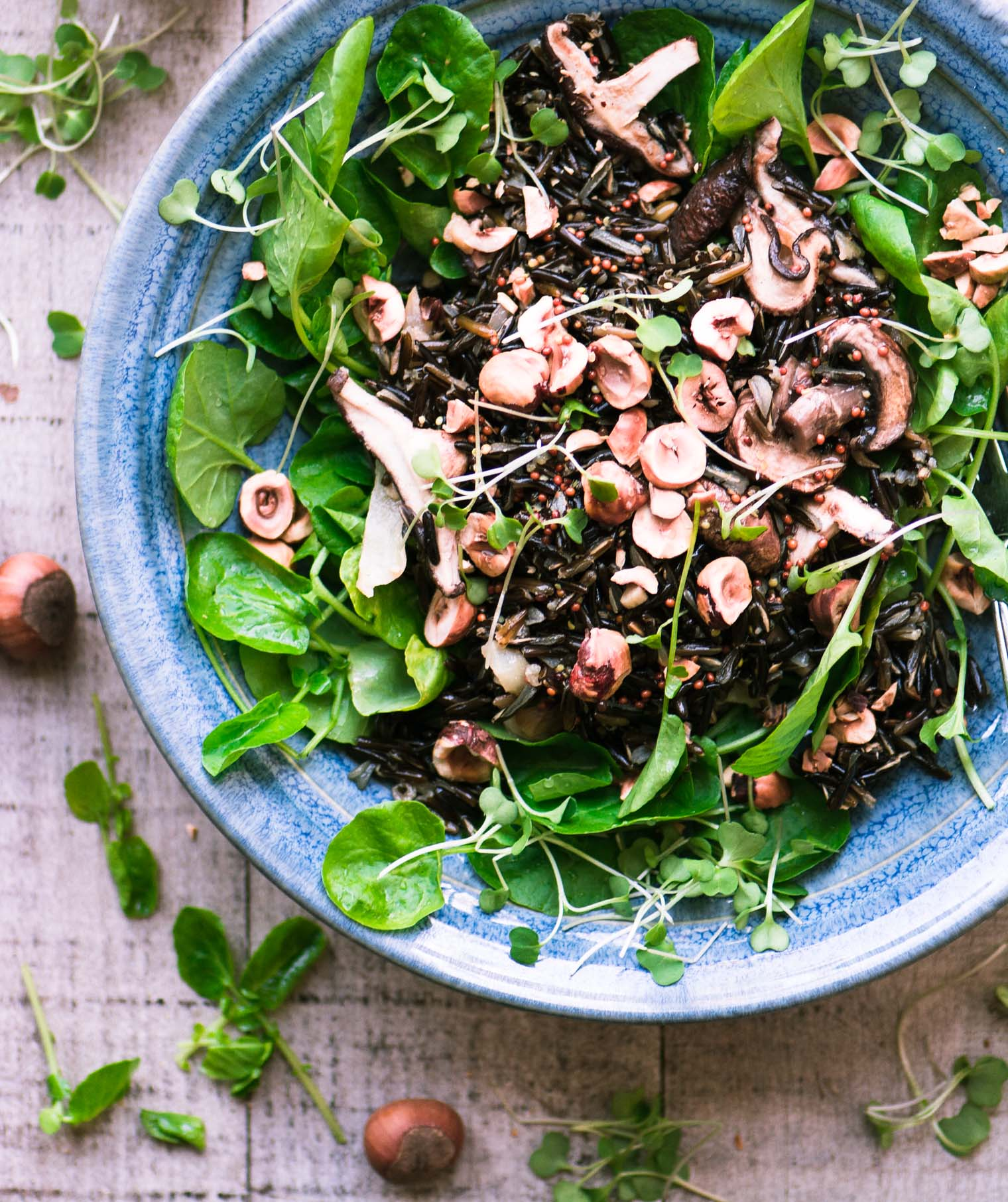 Wild Rice Bowl with Watercress and Hazelnuts