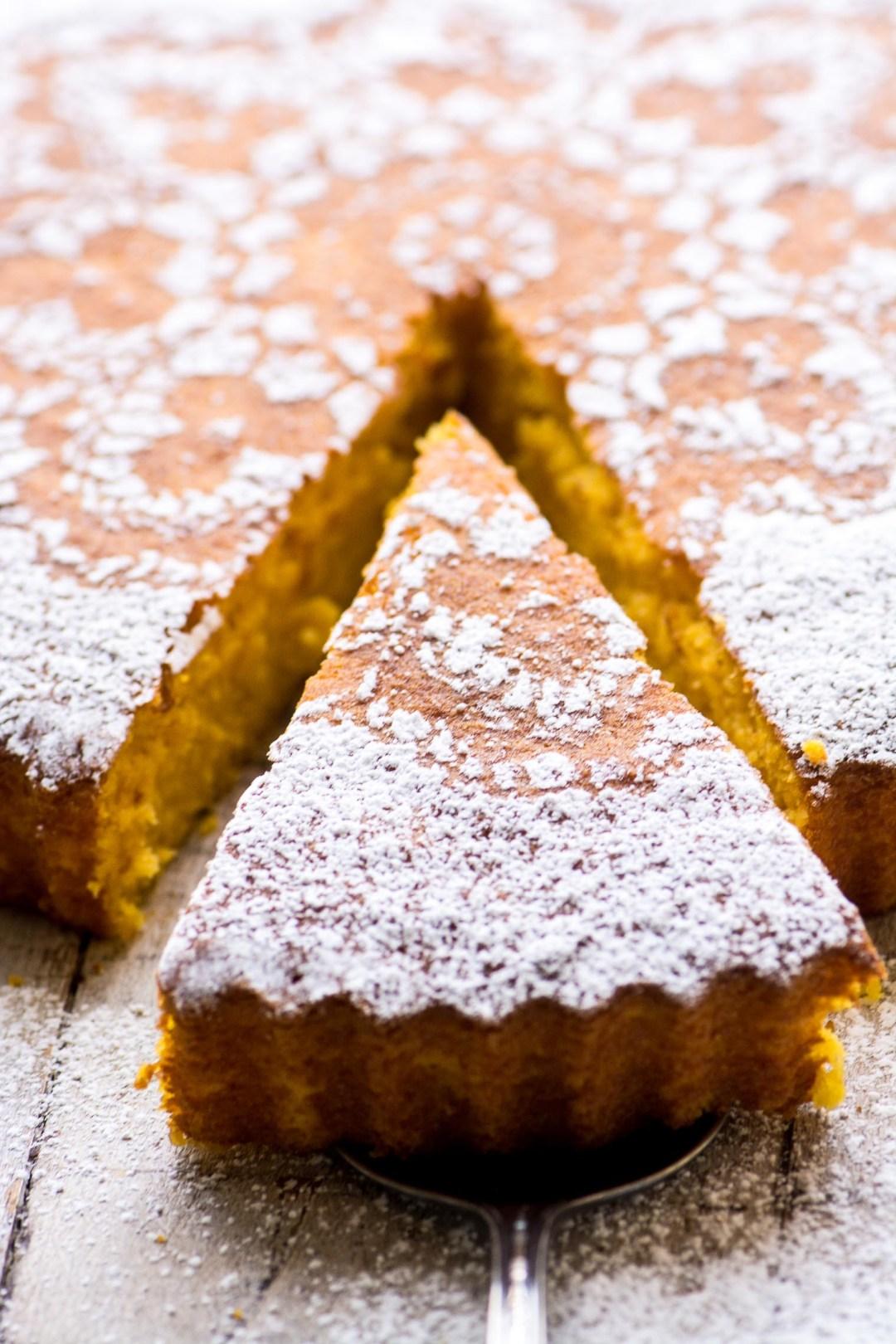 Slicing a Gluten Free Tangerine Cake