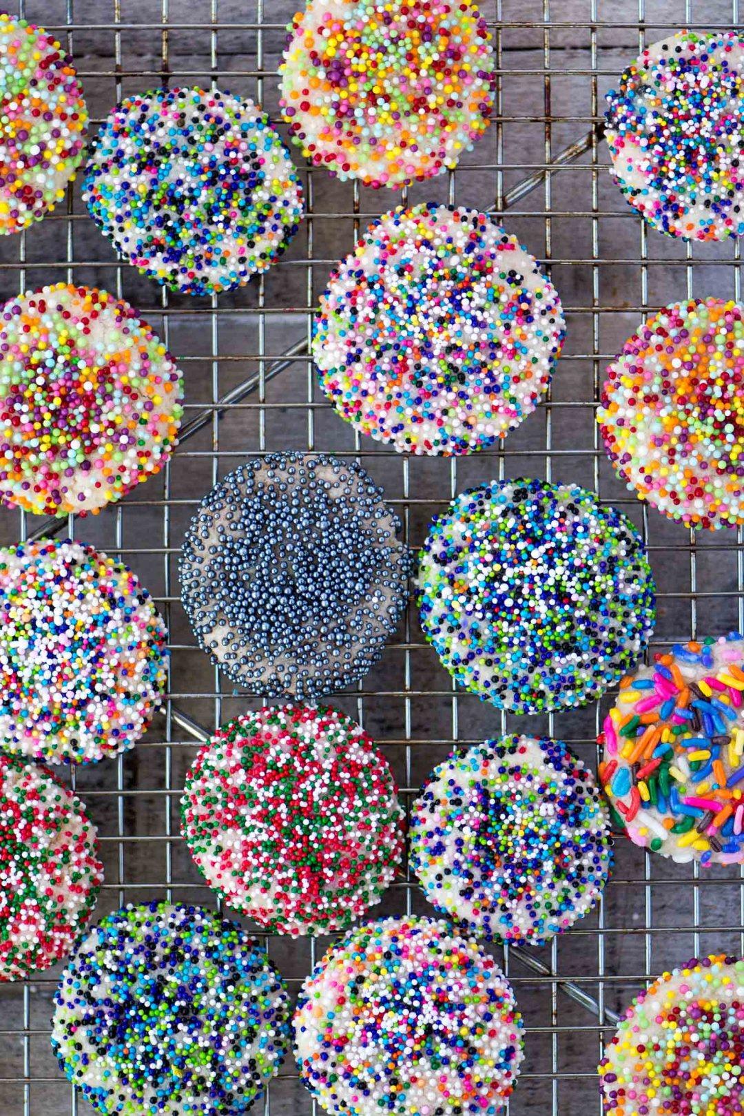 Pretty Sprinkle Sugar Cookies on a cooling rack