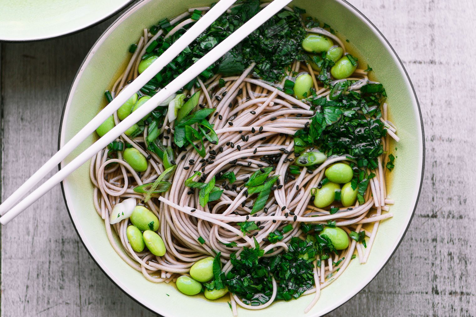 Easy Bone Broth Noodle Bowl with Herbs