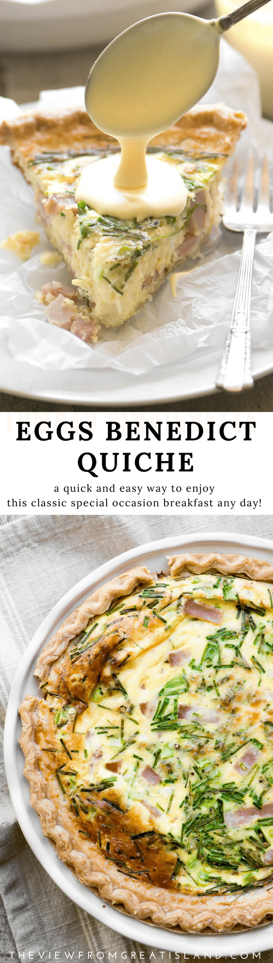 Eggs Benedict Quiche with Hollandaise Sauce ~ this brilliant hack lets you enjoy your favorite luxury breakfast in easy sliceable form ~ complete with little chunks of Canadian bacon, and a quick and creamy hollandaise sauce! #brunch #breakfast #eggsbenedict #hollandaisesauce #quiche #mother'sday #easter #easterbrunch #breakfastinbed #canadianbacon #eggs #hamquiche #easyhollandaisesauce