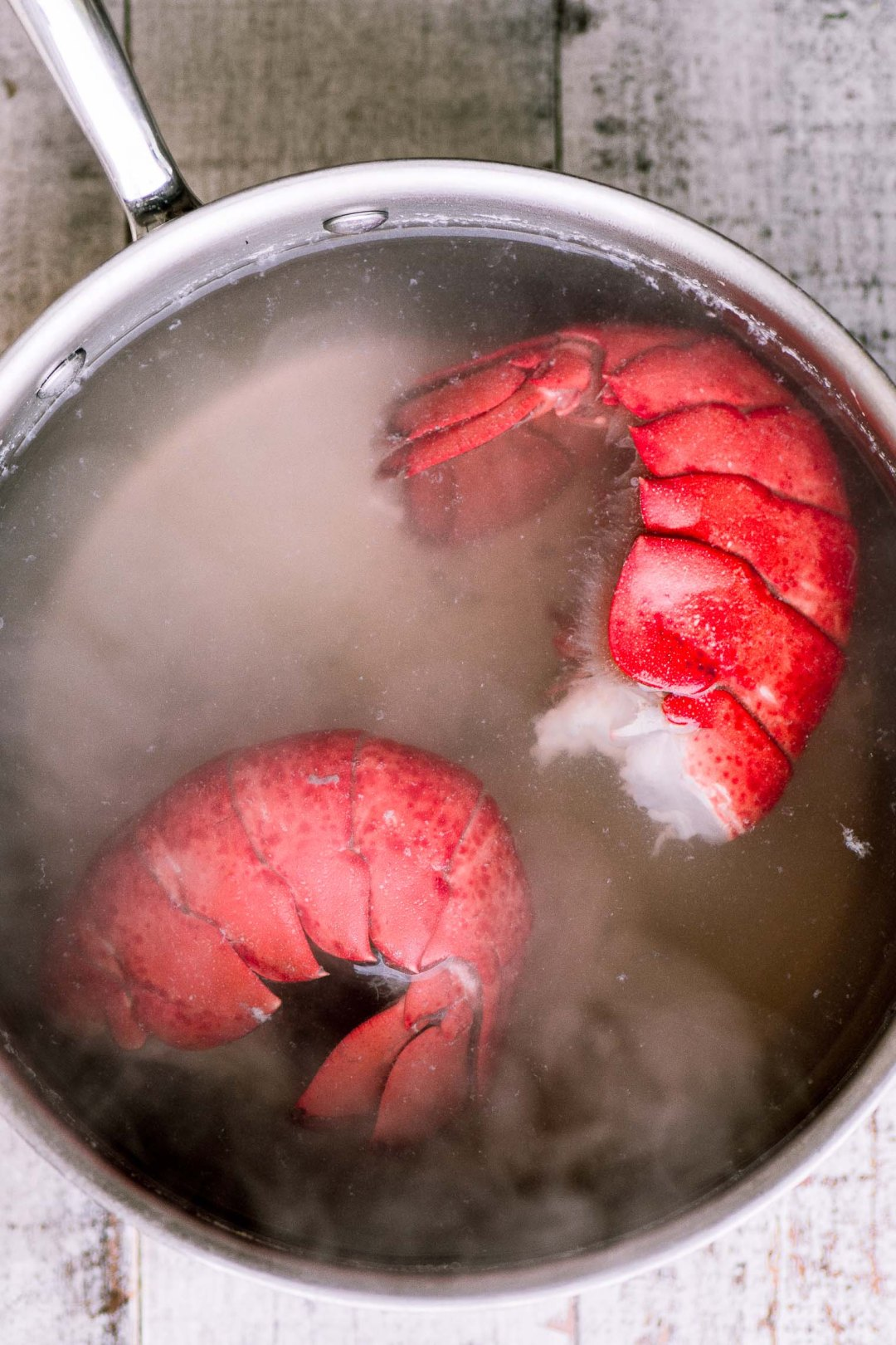 Lobster tails cooking for Instant Pot Lobster Risotto
