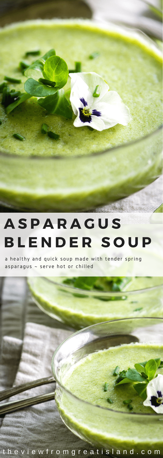 I make this Fresh Asparagus Soup super easily in the blender! #soup #blendersoup #asparagus #asparagussoup #asparagusrecipe #springsoup #eastersoup #mothersday #glutenfree #whole30 #paleo #weightwatchers #soupshooters #creamofasparagus #raw #rawsoup #vitamix #blendtec #appetizer