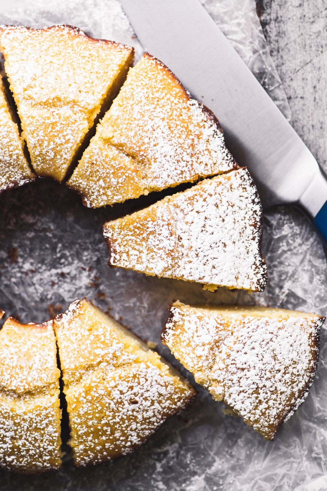 lemon breakfast cake sliced