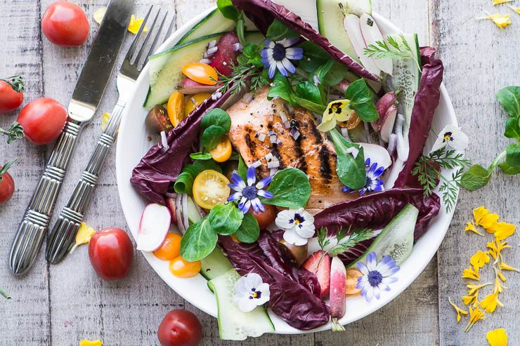 Grilled Salmon Salad with Spring Greens