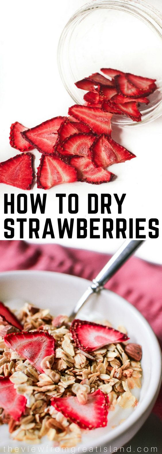 How to Dry Strawberries ~ once you've gobbled up your fill of fresh strawberries this season, consider drying them ~ dehydrating intensifies the flavor of the berries like nothing else! #driedfruit #dehydrating #strawberries #berries #snack #healthy #preserving #spring
