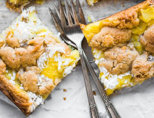 Pineapple coconut squares with forks