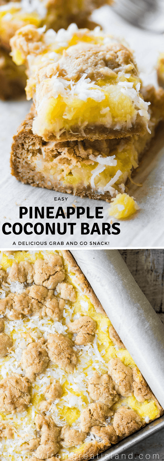 Pineapple Coconut Bars are a an easy tropical inspired treat made with juicy crushed pineapple, coconut, and a brown sugar shortbread crust ~ perfect for breakfast, bunch, or all day snacking. #pineapplebars #pineapplecoconut #blondies #squares #dessert #pineappledessert #potluckdessert #brunch