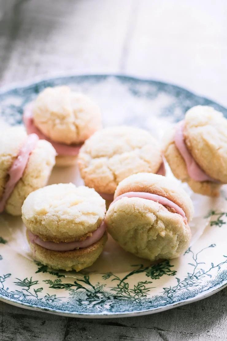 Roasted rhubarb lady's kiss cookies on a vintage plate