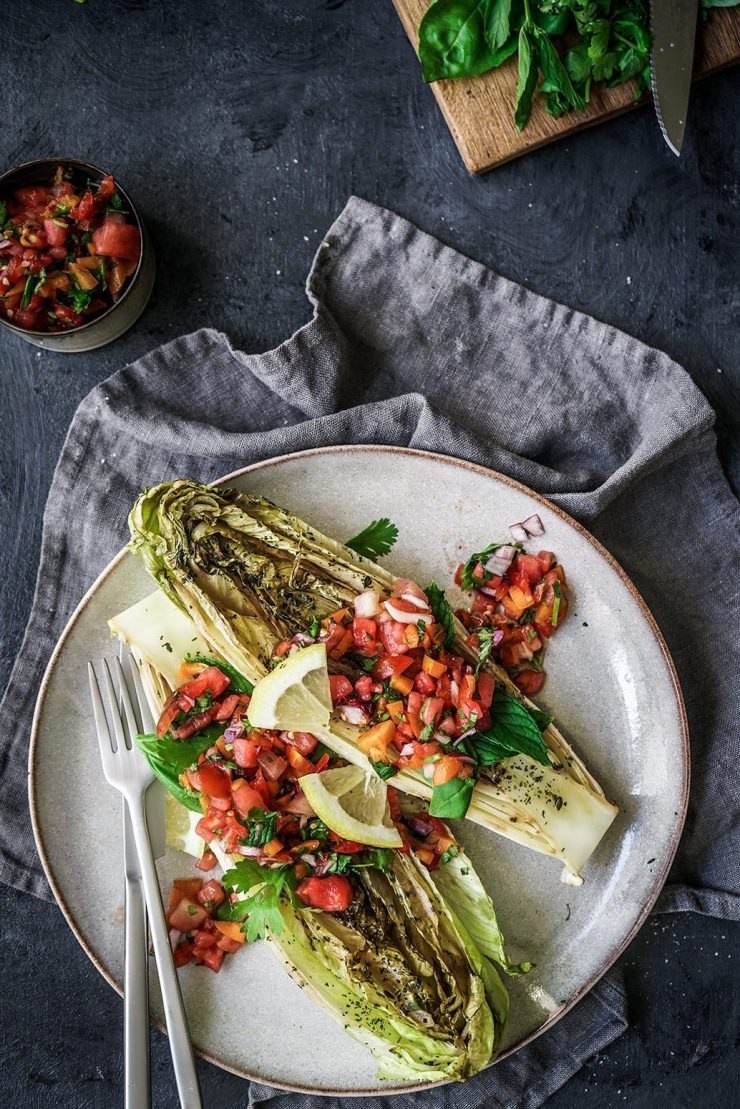 GRILLED ROMAINE SALAD WITH APRICOT AND WATERMELON SALSA