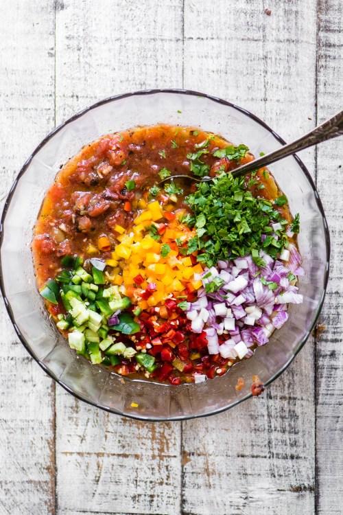 overhesad photo of restaurant salsa ingredients in a bowl