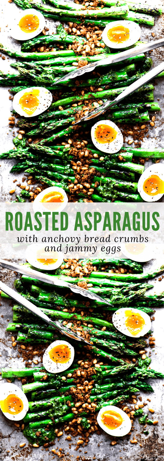 Roasted Asparagus with Crispy Breadcrumbs, Pine Nuts, and Runny Eggs ~ This easy Yotam Ottolengi inspired asparagus recipe will become a new favorite side dish. #asparagus #sidedish #grilling #roastedvegetables #ottolenghi #healthy #runnyeggs #jammyeggs