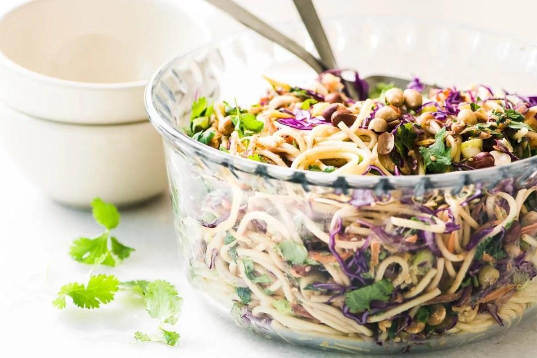 Spicy Thai Spaghetti Salad in glass bowl