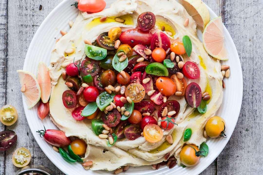 Farmers Market Hummus in a white bowl