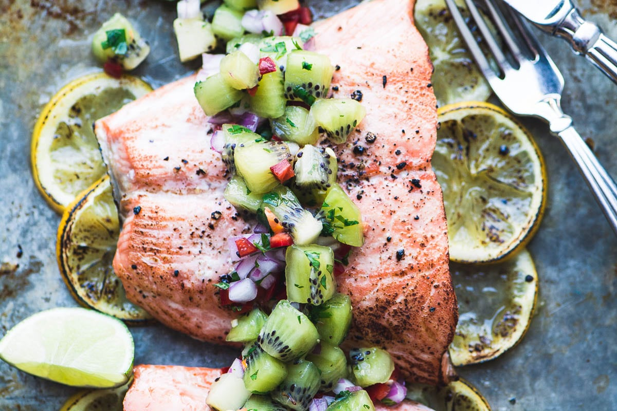 Roasted Salmon with Spicy Kiwi Salsa