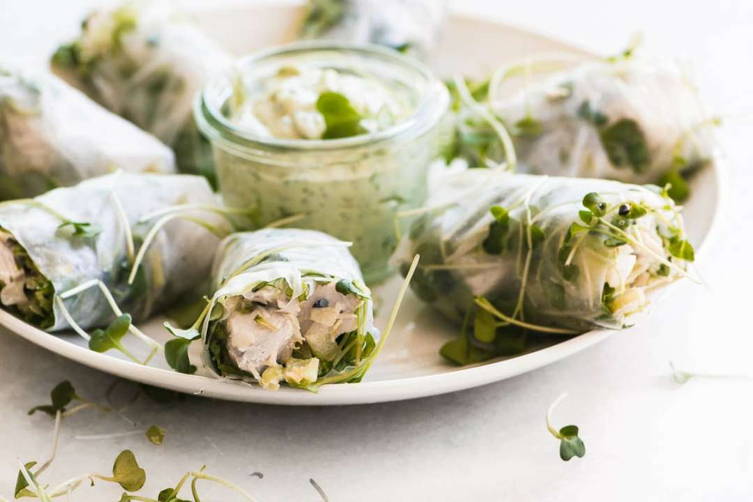 chicken salad summer rolls on a platter with herbed mayo dip