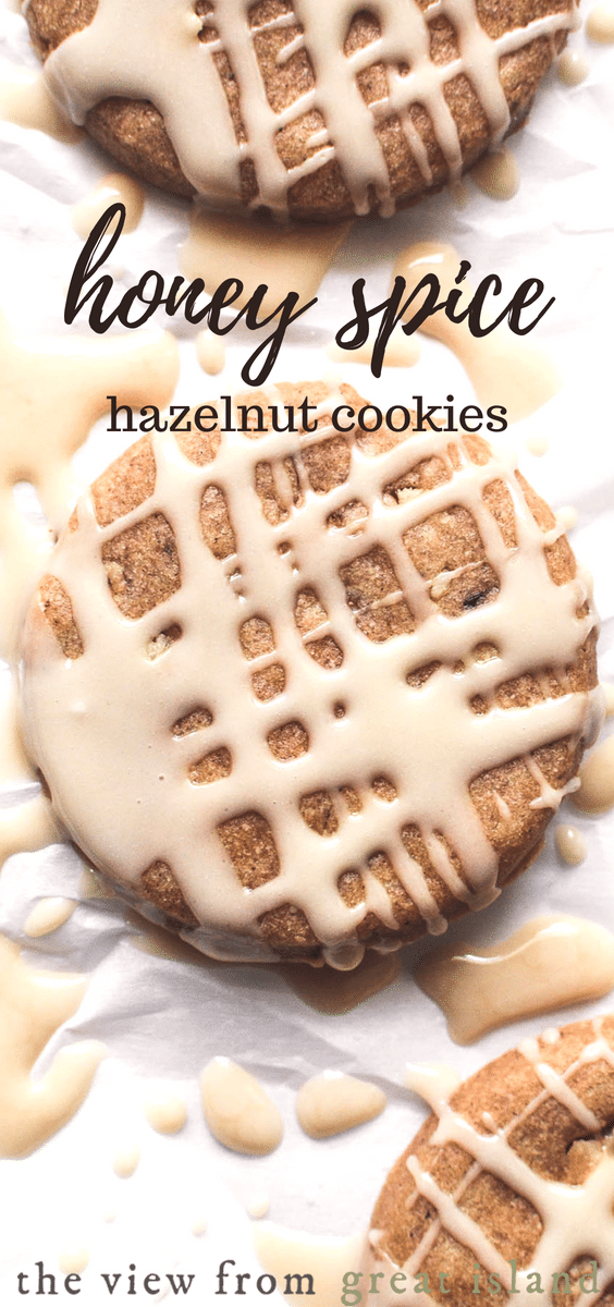 Honey Spice Hazelnut Cookies ~ these nutty, crunchy glazed cookies are a perfect way to ease into fall and holiday cookie baking season! #cookies #spice #homemade #recipe #hazelnuts #Christmas #holiday #cookieswap @glazed #easy #honey #ginger #oldfashioned #german #fall #cinnamon #iced