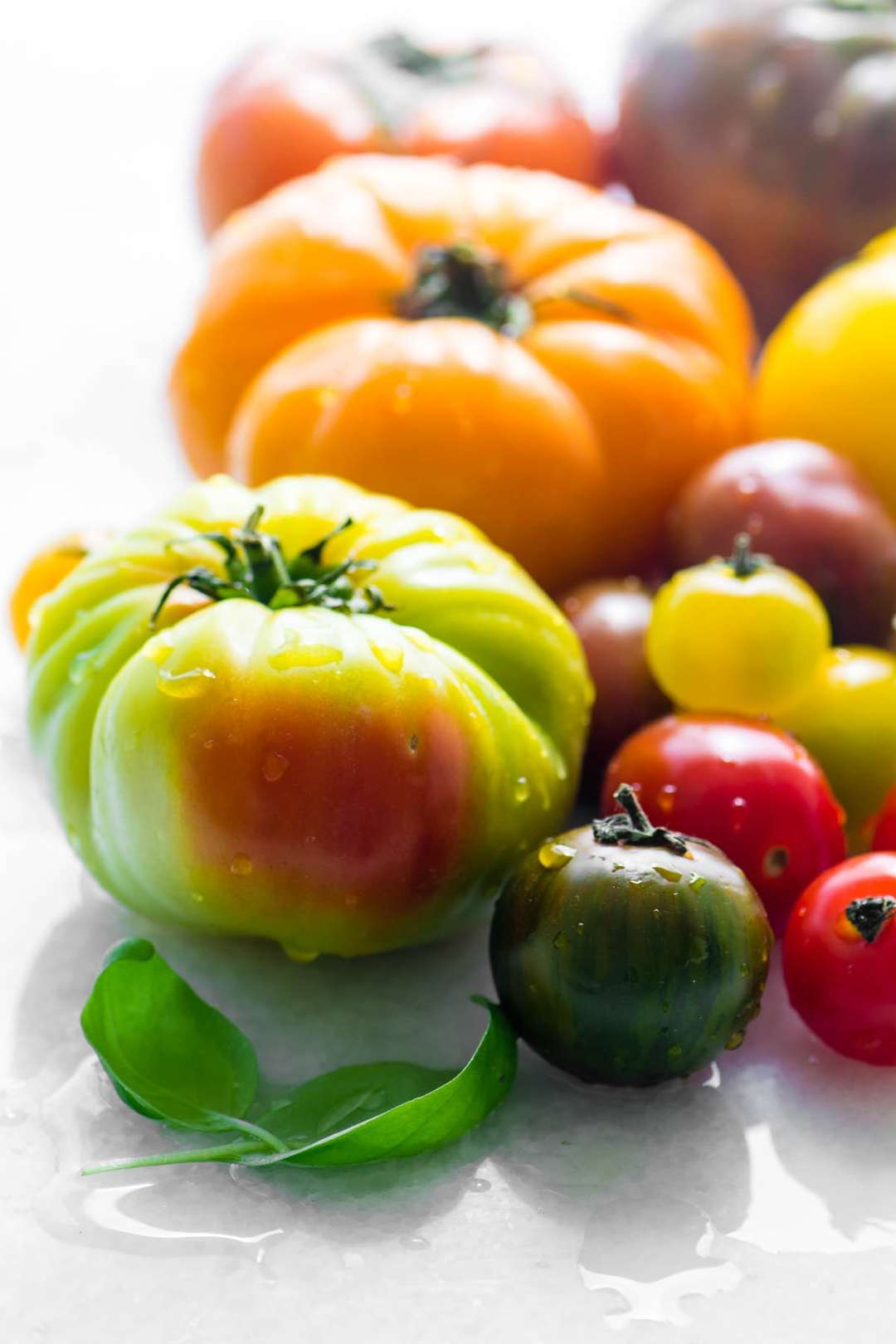 colorful heirloom tomatoes with basil leaves on a white surface
