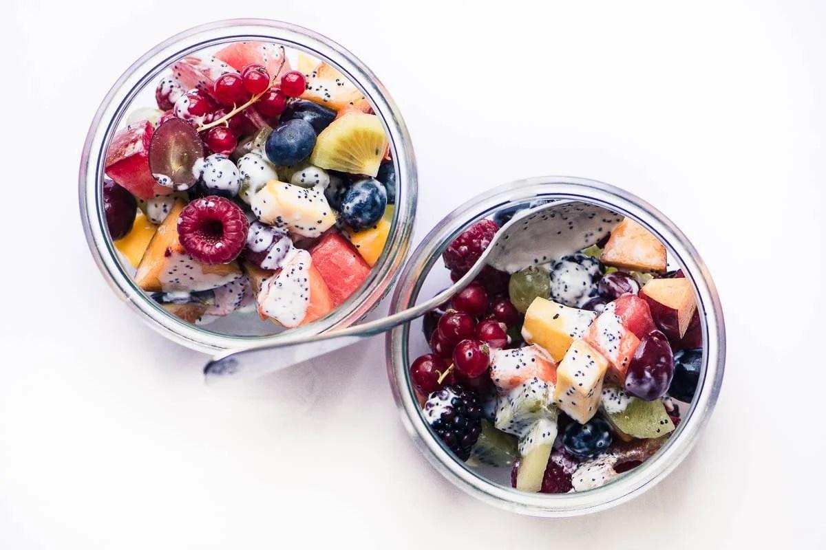 Summer Fruit Salad with Kefir Poppy Seed Dressing