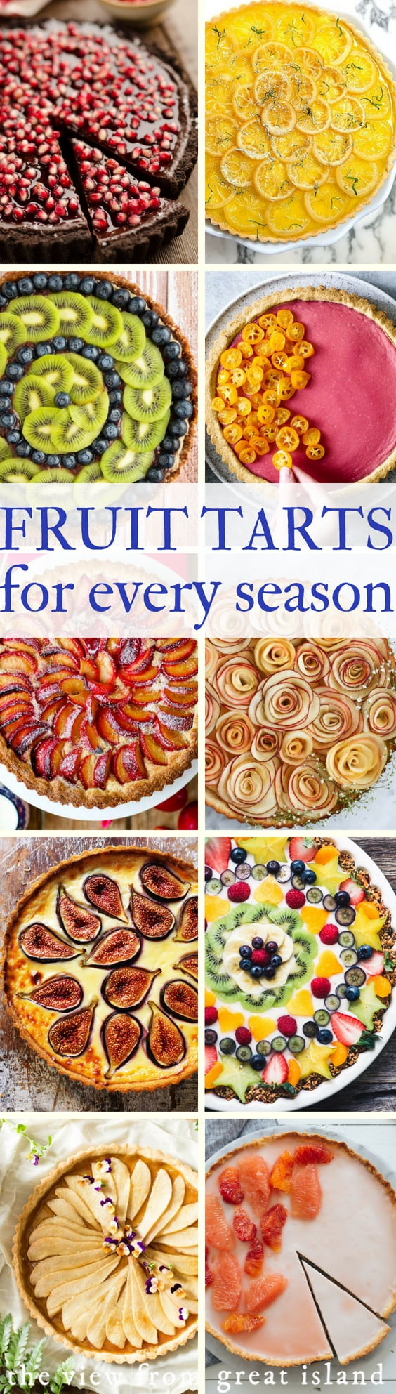 A Year of Fruit Tarts ~ 12 gorgeous recipes ~ there's a fresh fruit dessert for every month of the year. #tart #fruittart #nobake #glutenfree #dessert #apple #rhubarb #kiwi #fruit #vegan #healthy #nobake #plum #applerose #fig #pear #citrus #recipe #easy #winter #crust #rustic #custard #filling #fresh