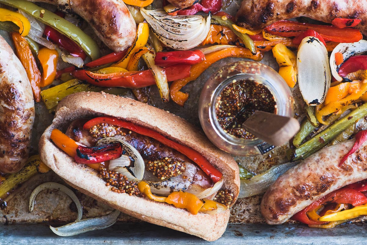 Sheet Pan Peppers and Brats