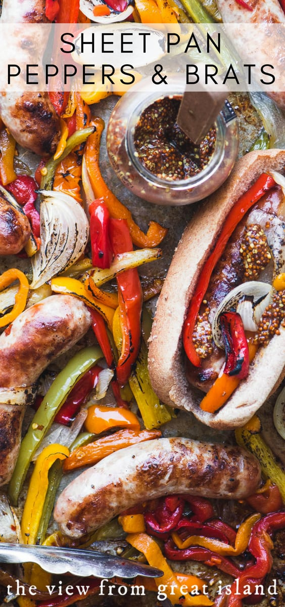 Sheet Pan Peppers and Brats ~ a quick and easy way to feed a game day crowd or a hungry family. #sausage #recipe #easy #baked #bellpeppers #oven #grilled #onions #sheetpandinner #dinner #entertaining #gameday #tailgating #30minutemeal #lowcarb