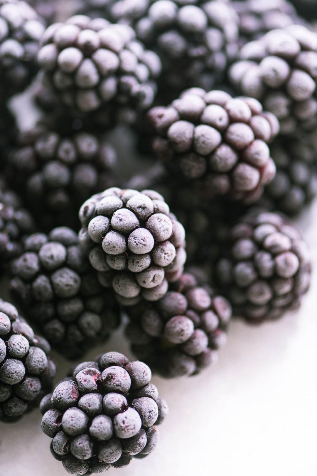 Frozen blackberries for a frozen blackberry moscato slushie
