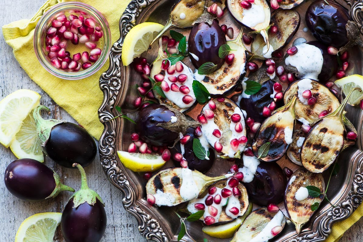 Grilled Baby Eggplant with Minted Yogurt and Pomegranate