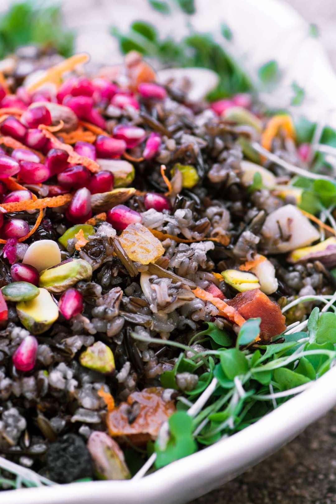 Jeweled Wild Rice Salad with microgreens and pomegranate
