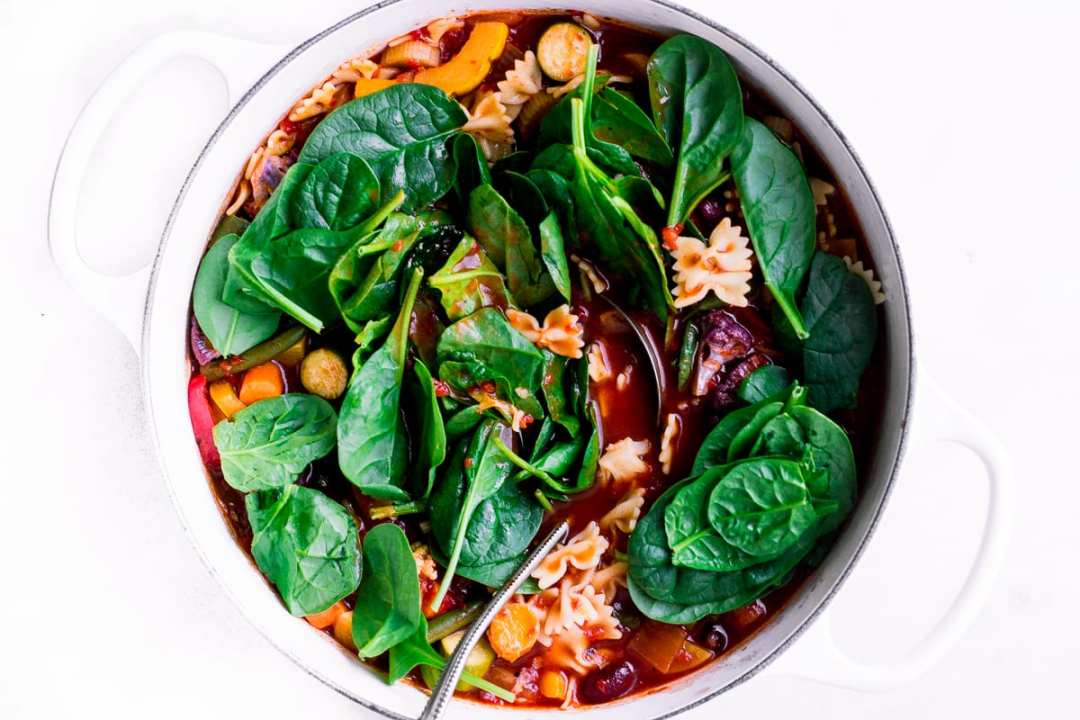Minestrone with fresh spinach