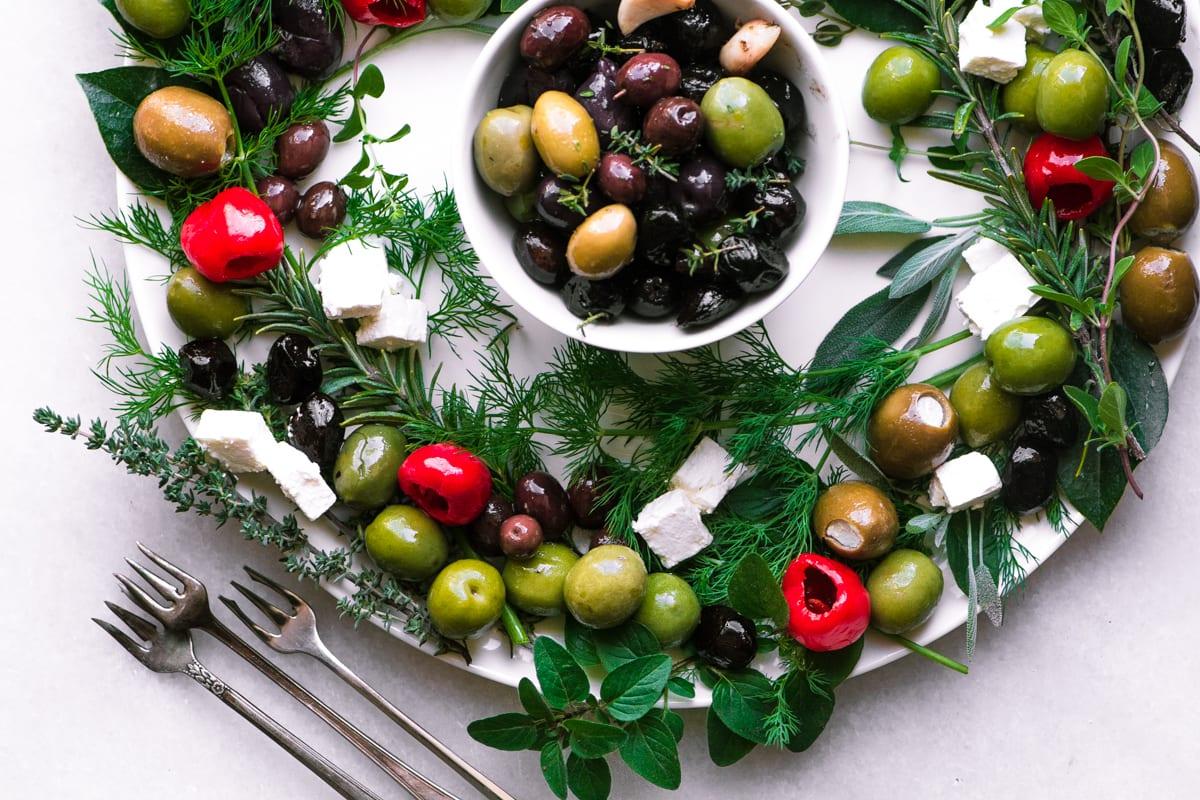 Festive Olive Wreath Appetizer
