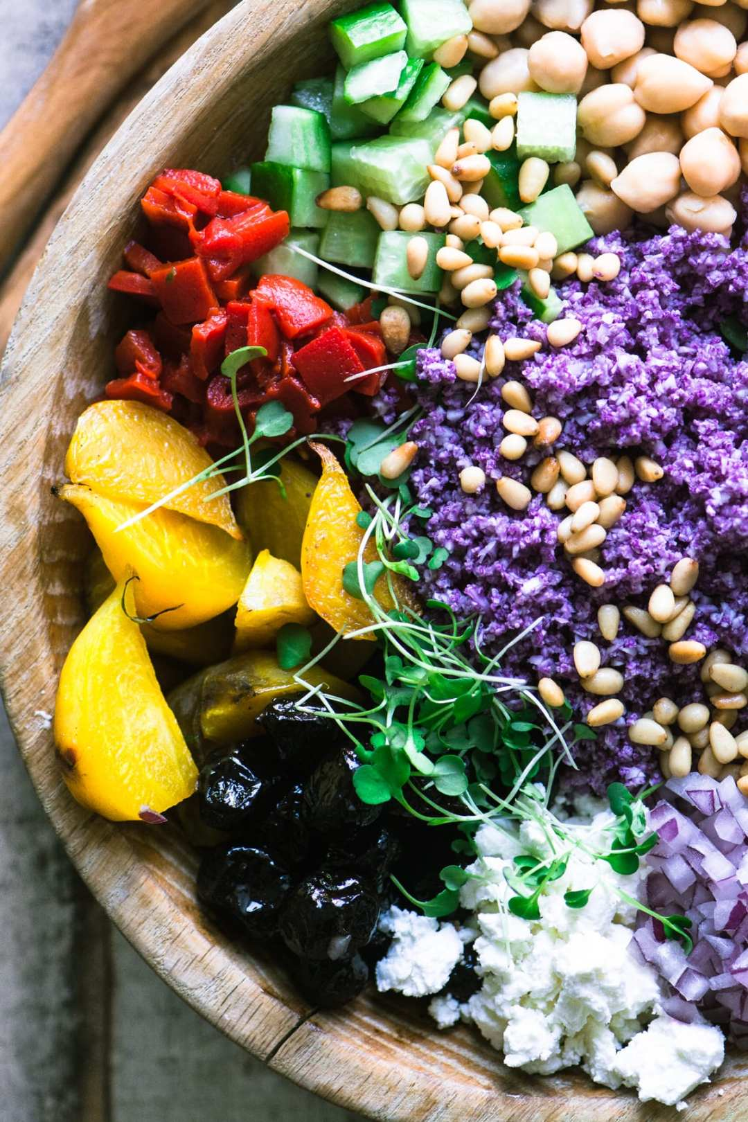 A gorgeously colorful purple cauliflower rice salad